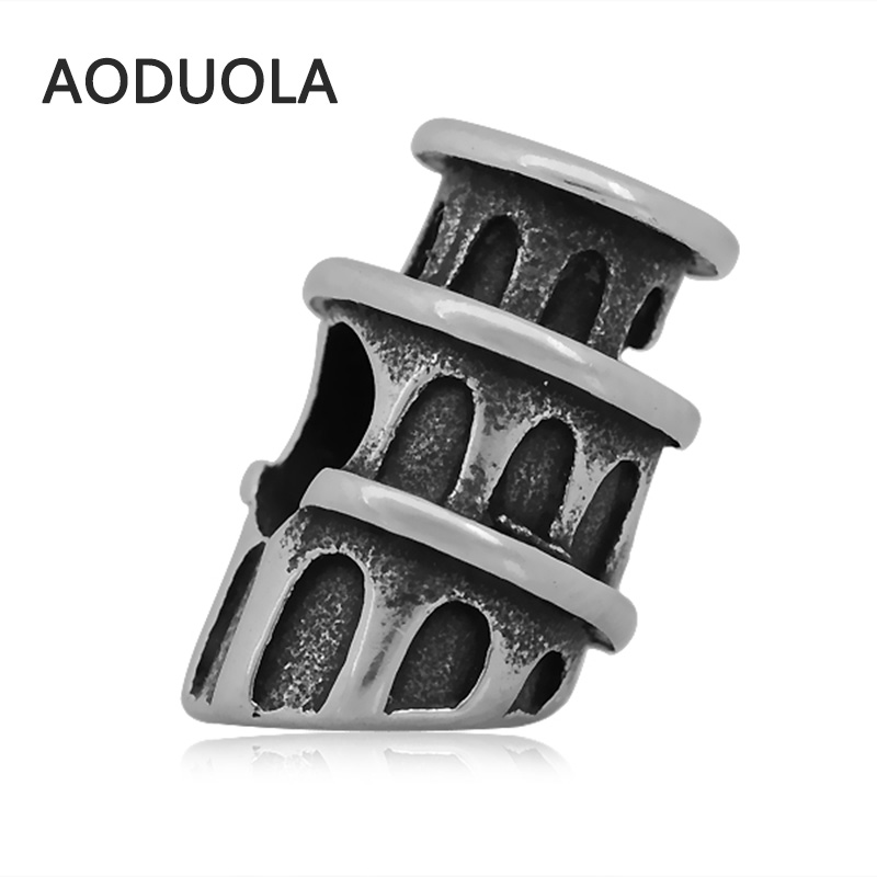 2Pcs Lot Stainless Steel Leaning Tower of Pisa Charm Beads DIY Big Hole Charms Bead for Jewelry Making Fit For Pandora Bracelet