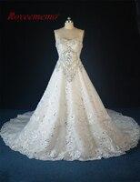 Real Image 2017 New Luxury Heavy Beading Wedding Dress Vestido De Noiva Hot Sale Bridal Dress