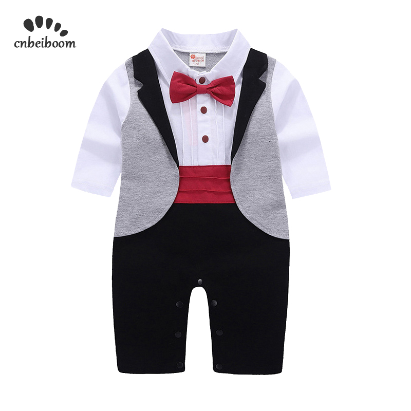 Newborn Tuxedo Jumpsuit Gentleman Baby Clothes With Tie Romper For Wedding Birthday Party Infant Toddler Formal Clothes 2019