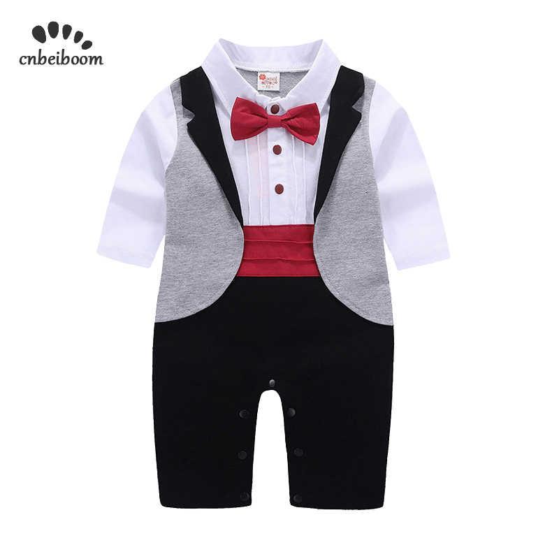 29eee76c9d3 Newborn Tuxedo jumpsuit gentleman baby clothes with tie romper for wedding birthday  party infant toddler formal