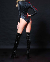 Black Leather Teddies Leotard Rubber Flexible Latex Long Sleeves Catsuit