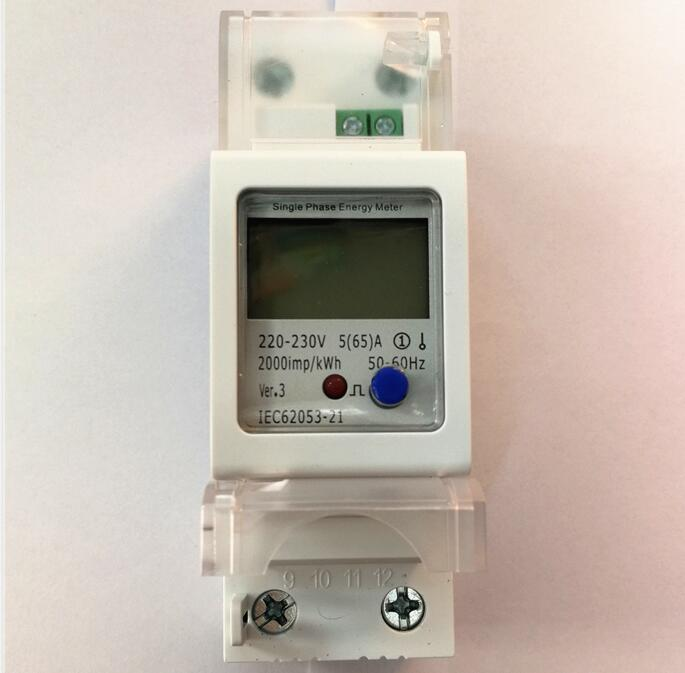 DIN rail LCD display solar power meter bi directional 2 way meter 2P energy meter power max current 65A