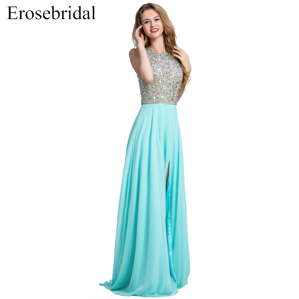 [Clearance Sale] Erosebridal Chiffon Sexy Front Split Long   Prom     Dresses   Beaded Bodice with Sequined Crystal Robe De Soiree