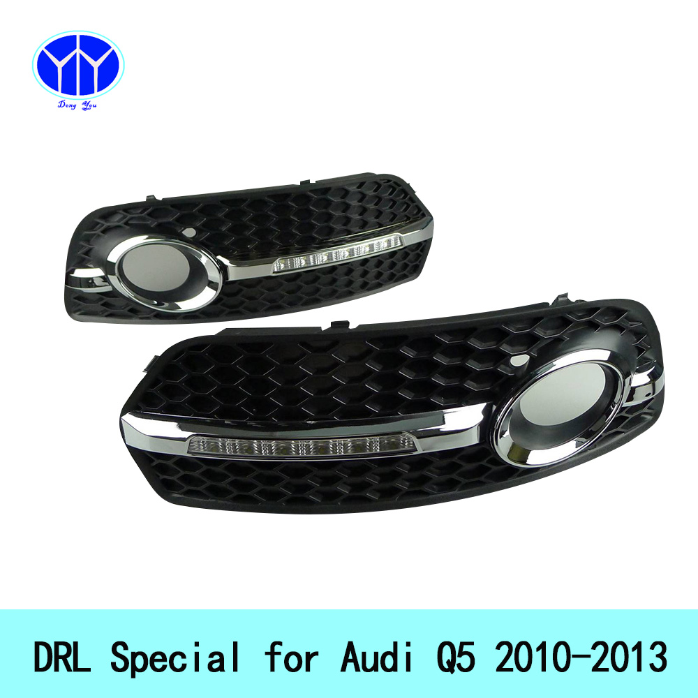 Car DRL Kit for Audi Q5 2010 2011 2012 2013 LED Daytime Running Light Bar super bright auto fog lamp daylight car led drl light car led drl daytime running light for accent 2010 2013 wireless control