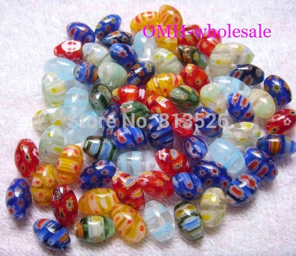 OMH wholesale 10x8mm 12x10mm 50pcs mix Oval Marquise flowers millefiori glass beads ZL67(China)