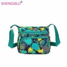 Shengxilu повседневная женщины мешки плеча цветы печатные девушки сумки женские crossbody сумки женские сумка почтальона сумочки марка женщин сумки