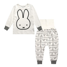 Girls Boys Cotton Strip Clothing Sets Children Cartoon Pajamas Baby Casual Tracksuit 2016 Autumn New Clothes Aged 1-5