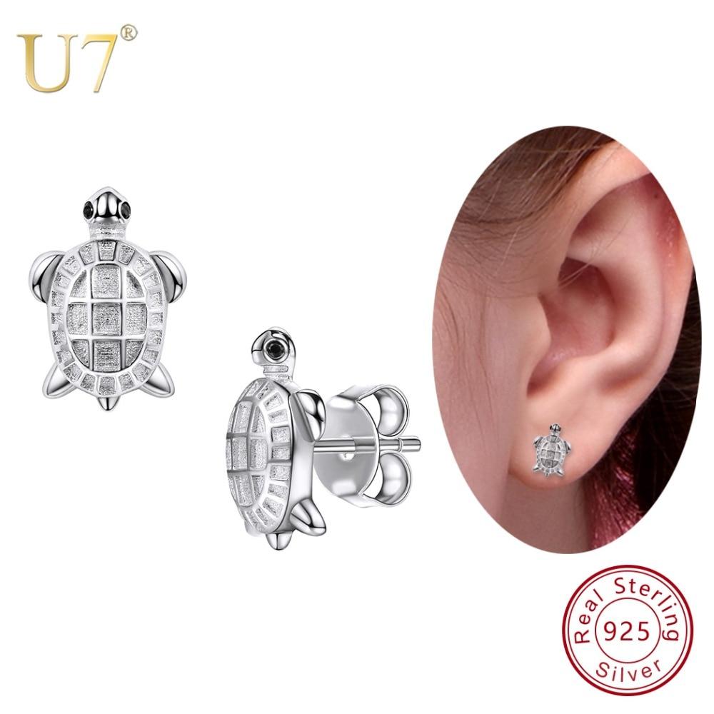 U7 925 Sterling Silver Tiny Cute Tortoise Stud Earrings Animals 2018 Best Gift For Women/Lover/Girlfriend Jewelry Earring SC33