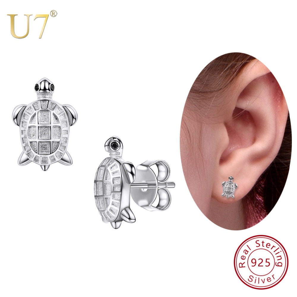 U7 925 Sterling Silver Tiny Cute Tortoise Stud Earrings Animals 2018 Best Gift For Women/Lover/Girlfriend Jewelry Earring SC33