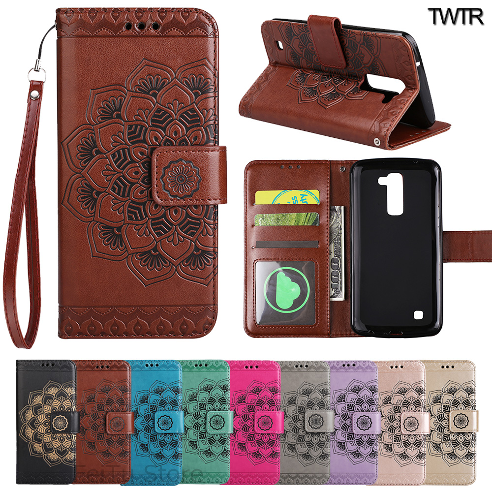 Flip Case for LG K8 K 8 LGK8 K 350 350N Floral Case Phone Leather Cover for LG Phoenix 2 K350 E K350E Wallet Mobile Phone Bag