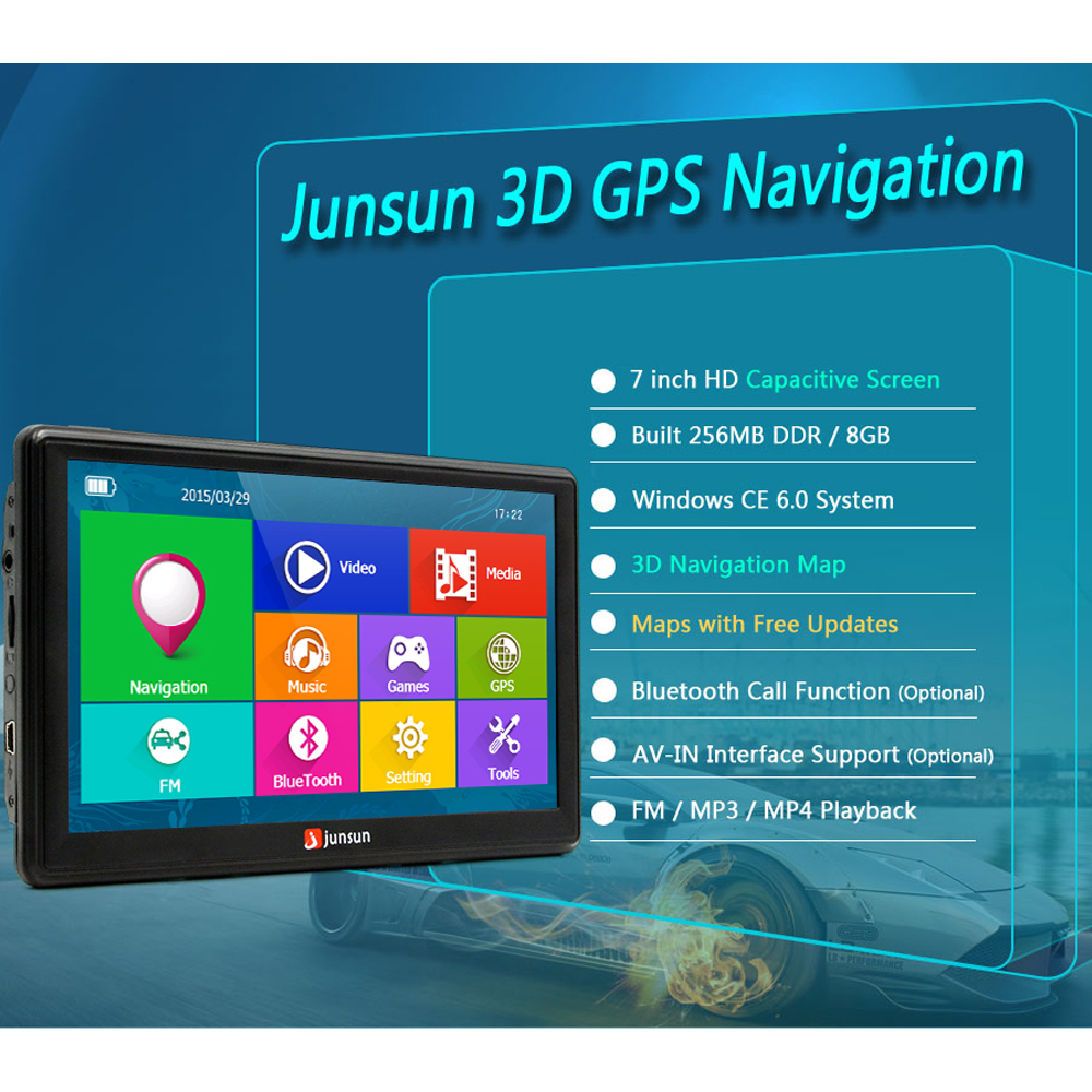 Junsun 7 inch Car GPS Navigation Capacitive screen Bluetooth AV-In FM Built in 8GB WinCE 6.0 Map For Europe house car