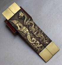 Chinês raras coleções grandes dragão e phoenix estátua de cobre papel peso