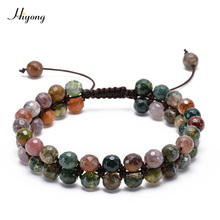 New Faceted India Onyx Double Row Beaded Bracelet Adjustable Layer Handwoven Braided Natural Stone For Gifts