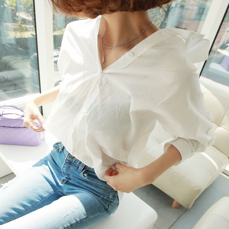 White Verano La Oficina 40 Mujeres Camisa Blanco 1310 Las Respaldo De 2018 Tops Moda Sexy Blusa Encaje Casual Sin fwgRWxqU