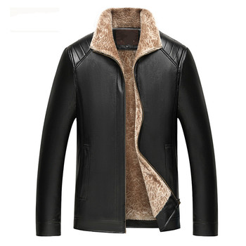 Pu Male Leather Jacket Winter Warm Long Faux Leather Mens Fur Coats Thicken Faux Cashmere Turn Down Fur Collar Windbreaker Brand