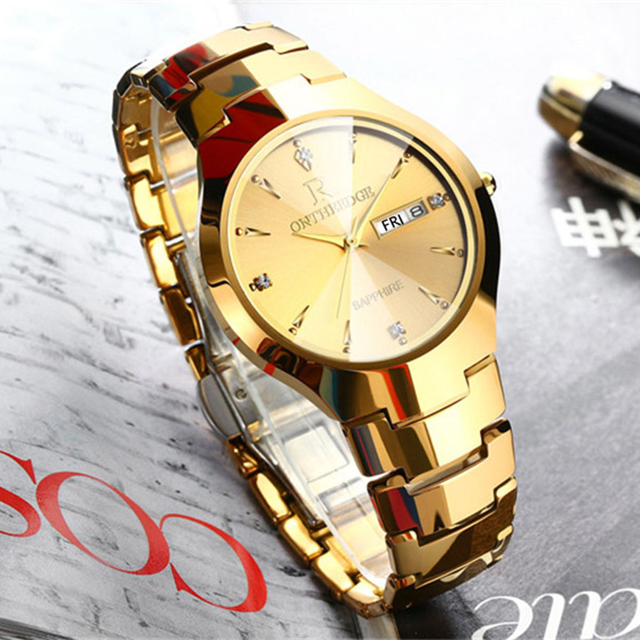 Mens Watches Top Brand Luxury Gold Tungsten Steel Men ultra thin Wristwatch Auto Date Quartz Watch relogio masculino New new men stainless steel gold watch luxury brand auto date mens quartz clock roman scale sports wrist watches relogio masculino