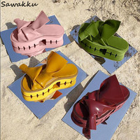 Chic Big Bowknots Wedge Women Slippers Leather Bowties Ladies Sandals Street Style Fretwork Bottom Summer Shoes Woman Slides