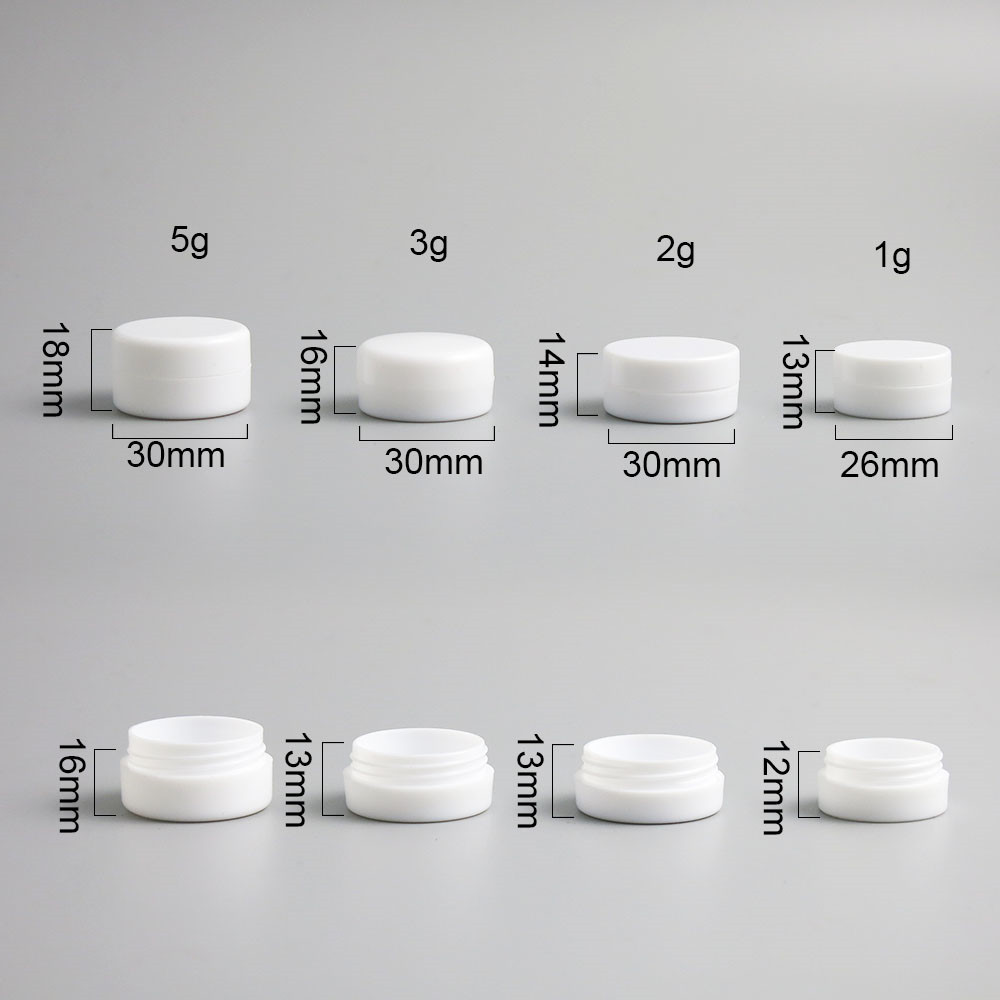 100 X 1g 2g 3g 5g Mini White Plastic Empty Jar Pot Travel Cosmetic Sample Makeup Face Cream Containers Nail Art Organizer Home