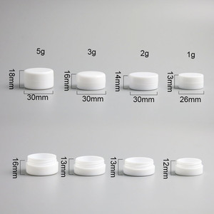Image 2 - 100 x 1g 2g 3g 5g Mini White Plastic Empty Jar Pot Travel Cosmetic Sample Makeup Face Cream Containers Nail Art Organizer Home