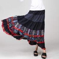The Original National Wind Skirt Printed Large Swing Skirt Large Code Elastic Waist Long Skirt