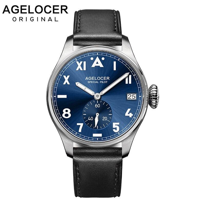 Original Agelocer lumineux hommes montre chiffres arabes romains otan bracelet horloge homme montres hommes Top marque luxe Relogios Masculino