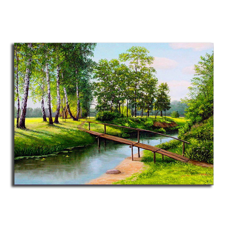 Full Round Diamond mosaic river bridge DIY 3D Diamond painting tree Full Square Diamond  ...
