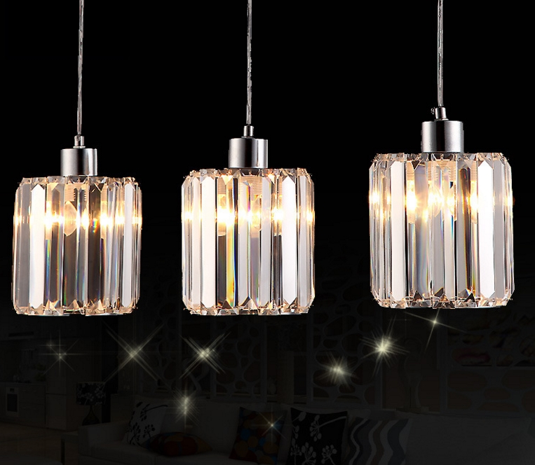Simple creative personality crystal LED restaurant chandeliers three meals chandelier bar table lamp bedroom hanging lamps modern simple crystal chandelier light creative personality crysta chandelier lamps chandeliers lighting living room bedroom