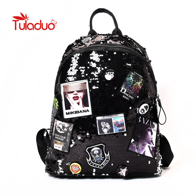 Tuladuo Shiny Women Backpacks Sequins Large Capacity Laptop Backpack for Teenager Girls Bling Europe American Style Shoulder Bag women sequins backpack female fashion bling bling children backpacks mini bags ladies casual shoulder bags for teenager girls