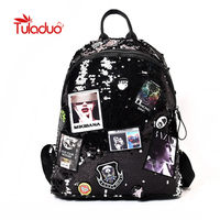 Tuladuo Shiny Women Backpacks Sequins Large Capacity Laptop Backpack for Teenager Girls Bling Europe American Style Shoulder Bag