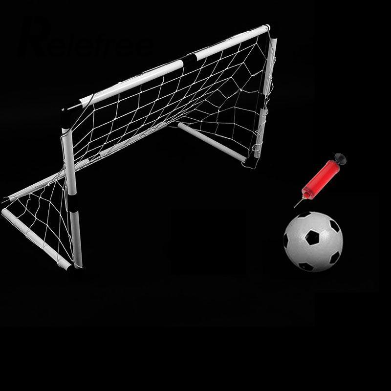 Relefree 2 Sets DIY Children Sports Soccer Goals with Soccer Ball and Pump Practice Scrimmage Game Football Gate DIY White