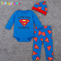 3Piece/0-24Months/Spring Autumn Newborn Baby Boys Clothing Sets Cartoon Rompers+Pants+Hat Kids Clothes Infant bodysuit BC1233