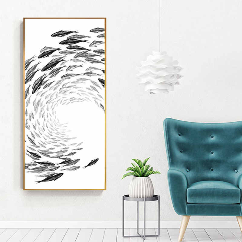 יפני סגנון דגי בד ציור ענק גודל קיר אמנות תמונה לסלון כניסת מעבר זן פוסטר הדפסת Cuadro קישוט
