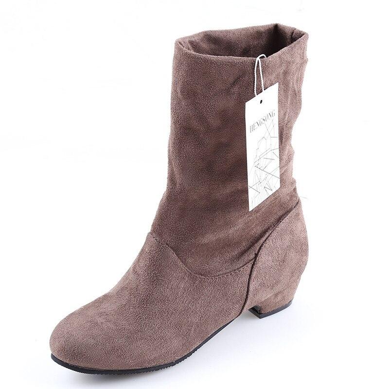 Женские ботинки; сезон осень-зима; Ботинки martin до середины икры; брендовые Модные женские ботинки без застежки из эластичного хлопка; женская обувь на плоской подошве - Цвет: brown