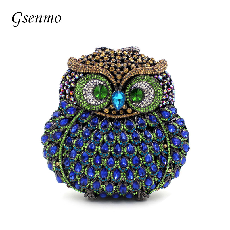 Gsenmo Owl luxury handbags women bags designer Diamond Evening Clutch Bags Beading Shoulder Bag 2017 designer handbags high quality women clutch hot luxury crystal full diamond wallet casual evening bags b100b dbb