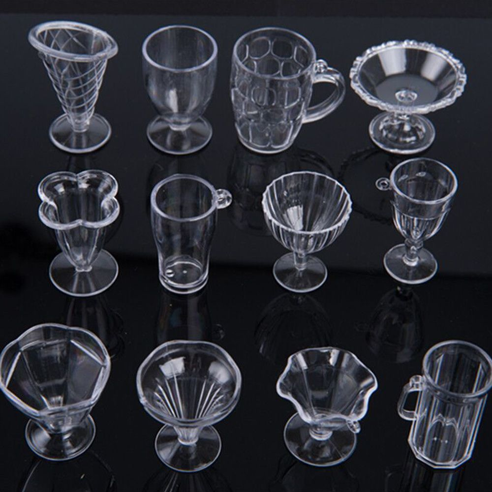 12Pcs/Set Modern Clear Transparent Plastic Mini Ice Cream Cup Tableware Doll House Miniatures Craft For Kids Gifts Kitchen Toys