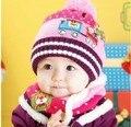2016, además de terciopelo niños Del casquillo Del Bebé Sombrero de Navidad Sombrero Del Bebé Sombrero de La Bufanda Set Nuevo otoño y el sombrero de invierno