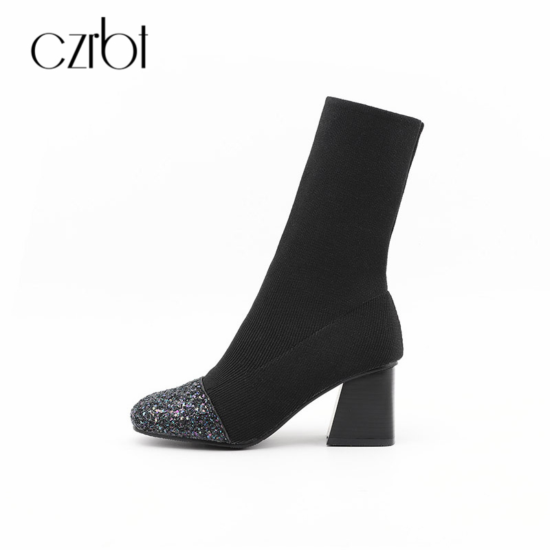 CZRBT Winter Fashion Bling Women Boots High Heels 6.5cm Square Toe Handmade Comfortable Concise Casual Ladies Shoes Big Size