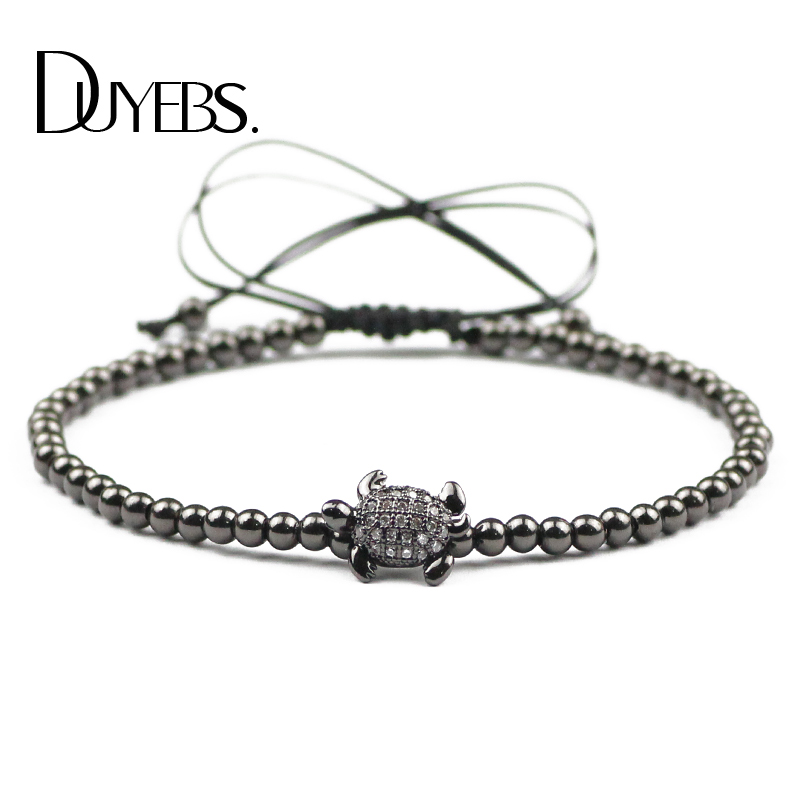 DUYEBS Animal Turtle Charms Bracelet Men 3mm Copper Beads Zircon Braided Rope Women Bangle Fashion Jewelry Pulseira Masculina