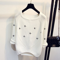 2015 New Korean Version For Fall Winter Round Neck Cropped Sleeve Head Knit Embroidery At The
