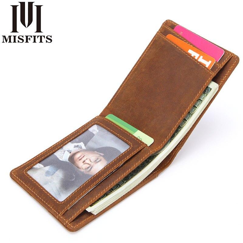 MISFITS Echtem Leder Geld Clips Vintage Männer Brieftasche Hohe Qualität Kuh Leder Männlichen Dünne Brieftasche Casual Mini Geldbörsen Karte Fall