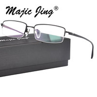 3eb56675f Recomendações baseadas no seu histórico recente. 100% óculos de miopia  Titânio homens Metade Aro Retângulo Prescrição Armação Óculos ...
