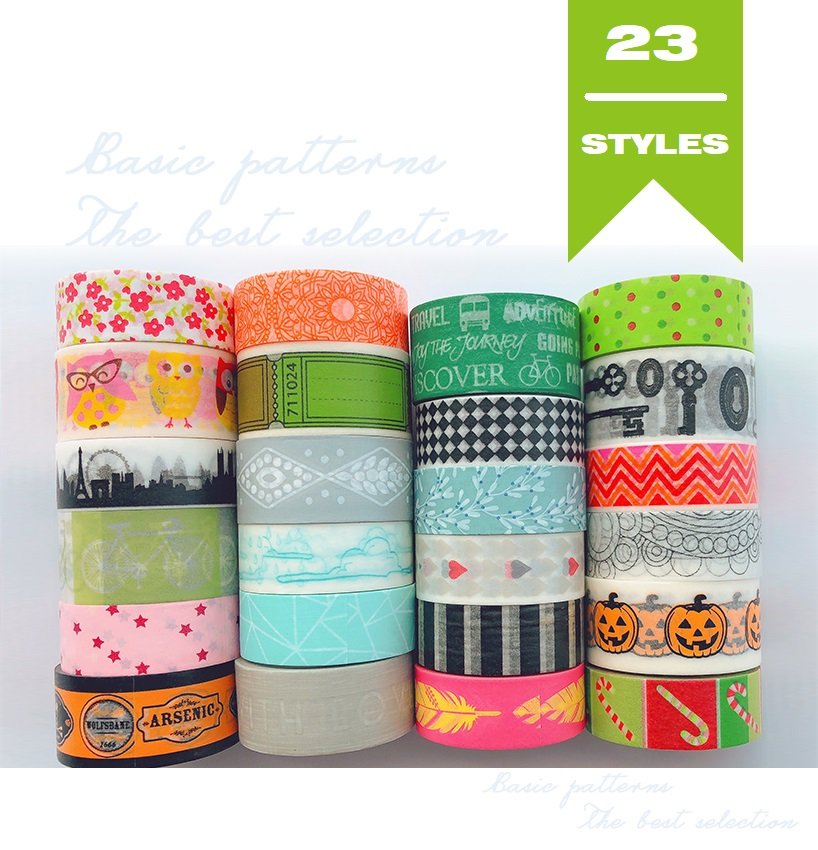 23Designs Letters/Stripe/Lace/Spots/Flower Pattern Japanese Washi Tape Decorative Adhesive DIY Masking Paper Tape Stickers Label
