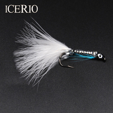 ICERIO 8PCS #4 White Tail Silver Streamer Minnow Fishing Flies Fly Fishing Lures