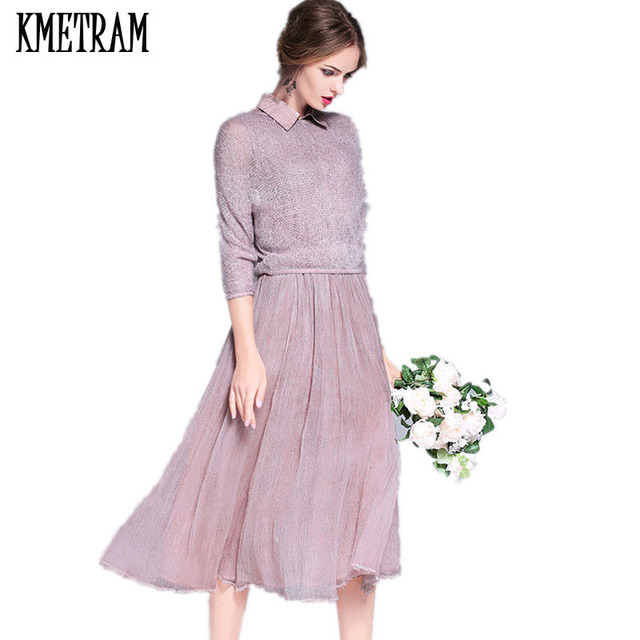 High Quality Women Spring Dress 2018 Fashion European Style Mulberry Silk  Elbise Pink Dresses Woman 2 Piece Vestidos YJZ048 93cae43e3887