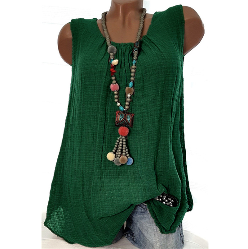 Women Summer 2019 <font><b>Tshirt</b></font> Casual Sleeveless Tops Tees <font><b>Sexy</b></font> Solid Color T-Shirt O-neck Loose Plus Size 5XL Shirts Green <font><b>Black</b></font> Tops image