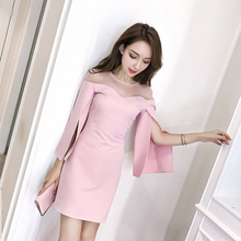 Sexy Off The Shoulder Tops  Autumn New Spring Fashion Long Sleeve Women dress Casual flare sleeve Shirts Solid Color 663F3