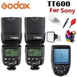 2X Godox TT600 TT600S Flash X System GN60 2.4G Wireless TTL HSS Flash Speedlite For Sony Camera + Xpro-S Transmitter Trigger