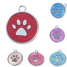 Glitter Footprint Shape Identity Card Stainless Steel Dog Tag Fashion Pendant Decor Lovely Pet Jewelry Anti-Lost Frame