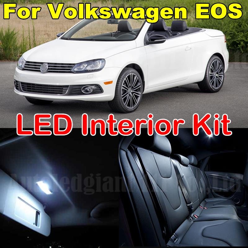 WLJH 10x Cold White Canbus Car Dome Sunvisor Mirror Glove Box Footwell Bulb For VW Volkswagen EOS Interior LED Light Package Kit стоимость