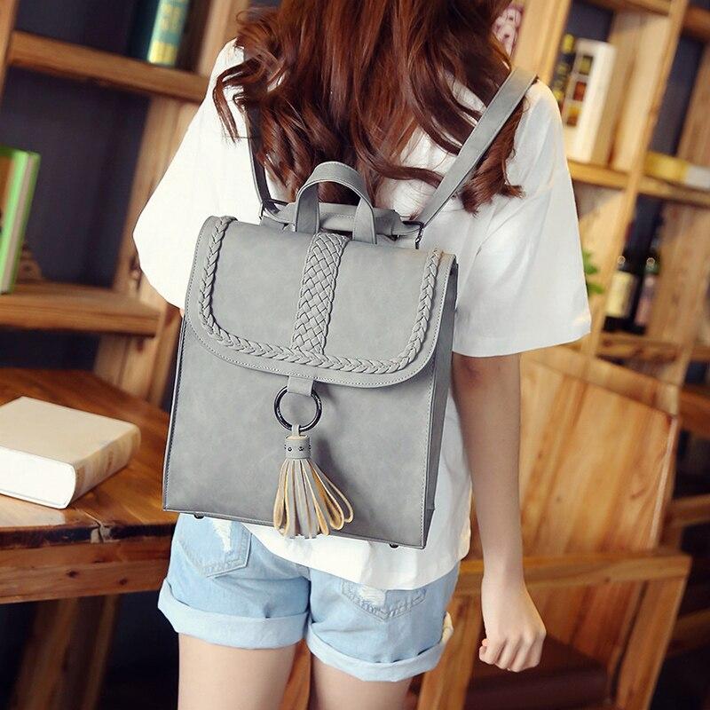 2017 Preppy Style Women Backpack Teenage Girls Pu Leather Backpack Female SchoolBag Machila Femanina Tassel Backpacks Travel Bag (4)